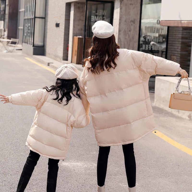 WLG/зимние Семейные комплекты; свободные пуховые пальто для мамы и дочки; цвет бежевый, красный; плотная теплая одежда для детей