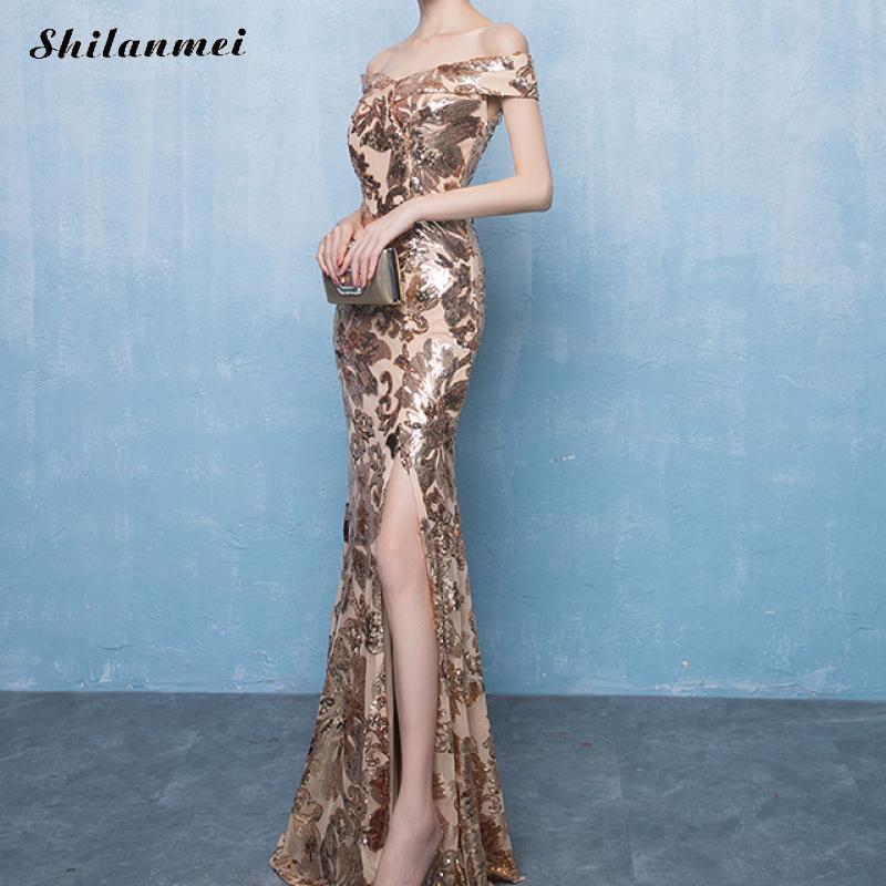 Gold Sequin Off Shoulder Long Dress Women Elegant Slash Neck Sequined Maxi Evening Party Dress Floor Length Side Slit Vestiods in Dresses from Women 39 s Clothing