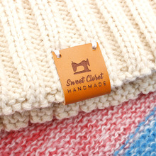 Custom labels, centre fold leather Sewing Labels, Logo or Text, Knitting Tags For Hats  (PB3190)