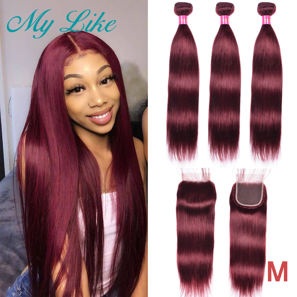 My Like Brazilian Hair Weave Straight Hair Bundles With Closure 99J Red Burgundy 3Pcs Non-remy Human Hair Bundles With Closure