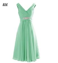 2019 Elegant Cheap A-line Short Chiffon Prom Dresses Beaded Long Formal Evening Dress Party Gown Vestidos De Gala BM104 цена и фото