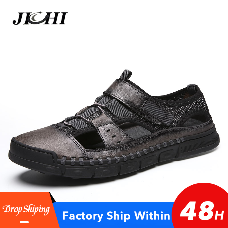2019 Genuine Leather Summer Men's Sandals Casual Beach Shoes High Quality Roman Sandalias Soft Sole Sandals Big Size 38-46