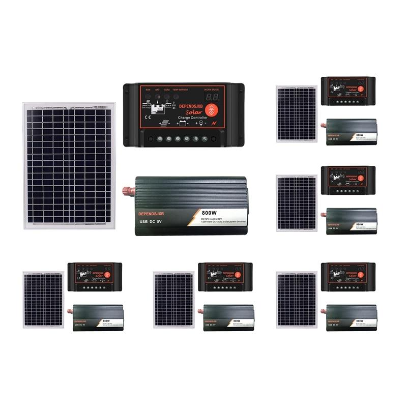 18V20W солнечная панель + 12V контроллер + 800W Инвертор Dc12V Ac230V комплект генерации солнечной энергии, для наружного и домашнего использования