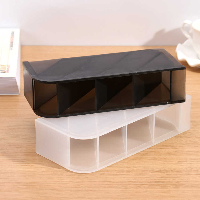 متعددة الوظائف 4 شبكة حامل قلم مكتبي مكتب مدرسة حقيبة للتخزين واضح أبيض أسود صندوق بلاستيكي مكتب القلم قلم رصاص المنظم 1 قطعة