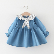 New Autumn Baby Girl Dress 0-3T Toddler Clothes Children Simple Style Dot Print Girls Imitation Denim Long Sleeve