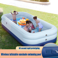 Inflatable Swimming Pool Family Childrens Kids Baby Large Water Rectangular Fun Inflatable Pool Large Water Play Center Awning
