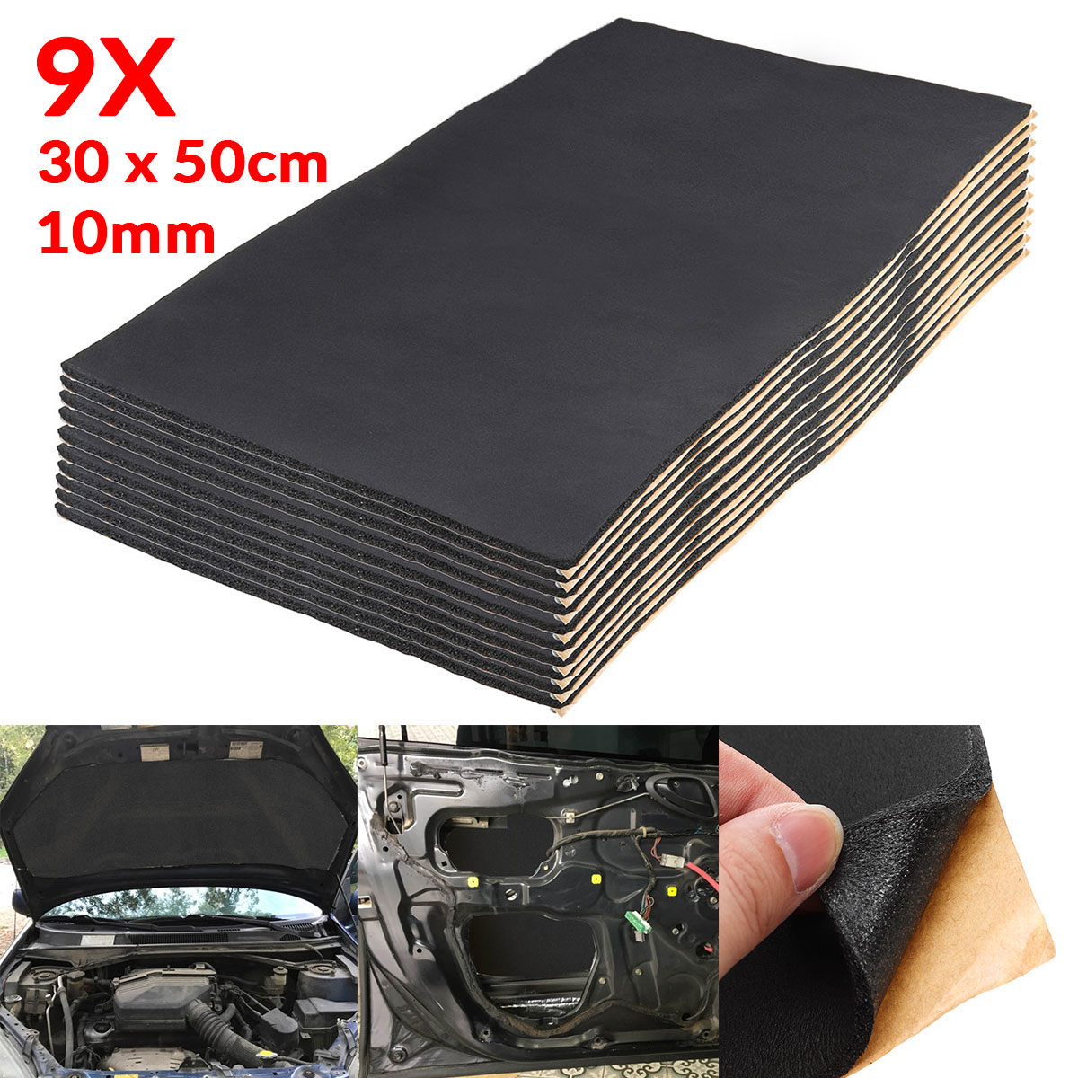 9X 1cm 0.6cm Car Sound Hot Deadener Mat Noise Proof Bonnet Insulation Deadening Engine Firewall Heat Foam Cotton Sticker 30x50cm