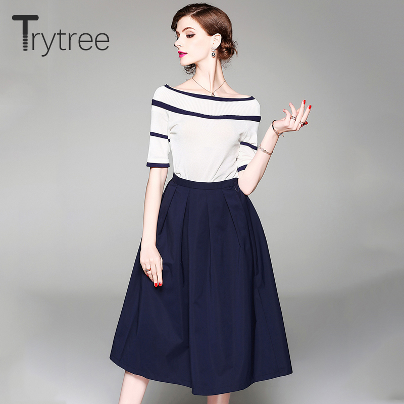 Trytree 2019 Autumn Women Two Piece Set Solid Knitted Half Sleeve Slash Neck Top + Skirt A-line Mid-Calf Office Lady 2 Piece Set