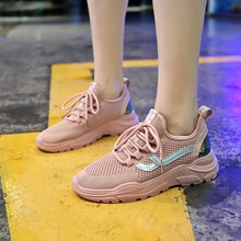 Hot Sale Womens Chunky Sneakers Fashion Women Platform Shoes Lace Up Pink Vulcanize Female Trainers D0034