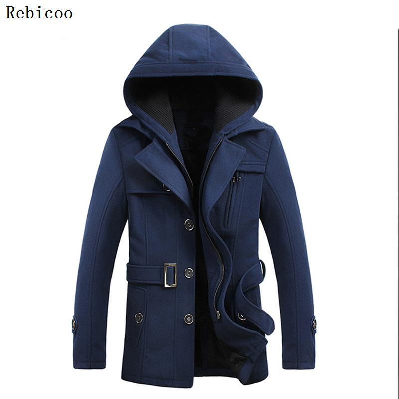 Men Long Wool Coat Slim Fit Military Business Outerwear Double Breasted Trench Overcoats Foreign Trade Autumn And Winter New Sty