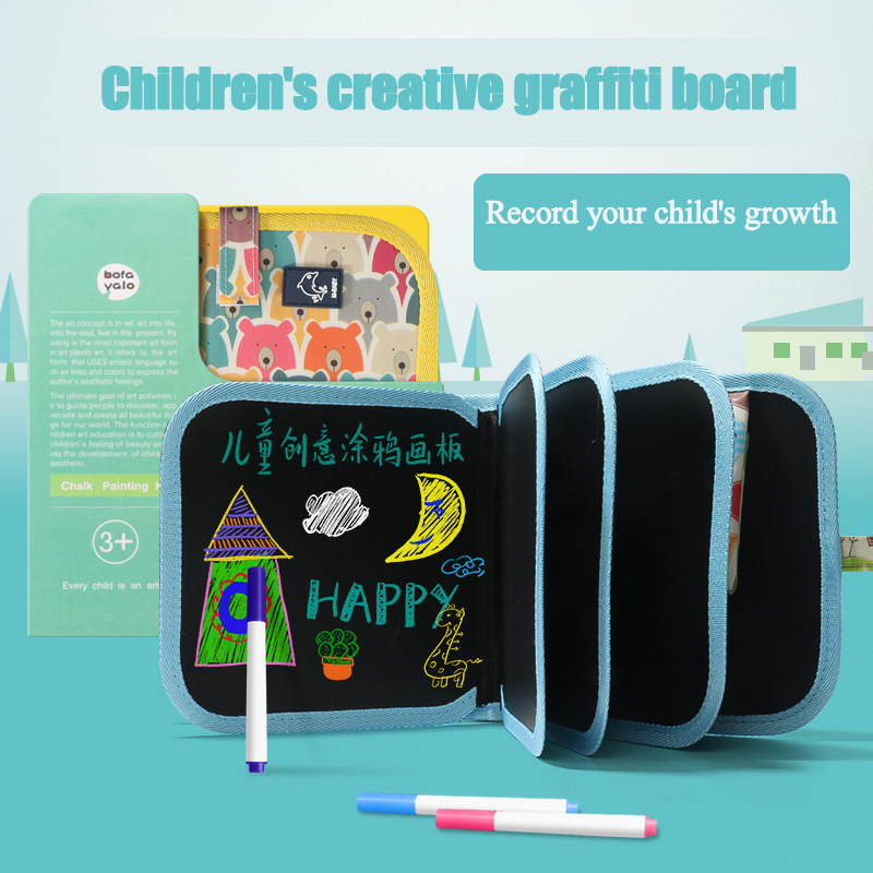Kid Double-sided Erasable Drawing Book Cut Portable Painting Blackbord Animal Graffiti Writing Board Painting Supplies