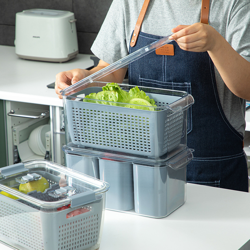 Plastic Fresh-Keeping Storage Box Vegetable Preservation Tank Household Kitchen Refrigerator Multifunctional Containers With Lid