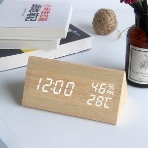 Image 4 - ไม้LEDนาฬิกาปลุกควบคุมเสียงดิจิตอลอุณหภูมิความชื้นไม้Despertadorนาฬิกาตั้งโต๊ะUSB/AAA