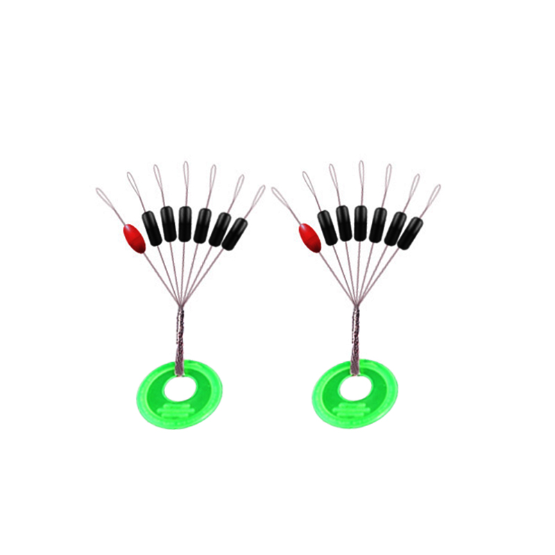 Simpleyi 10pcs/lot Fishing Bobber Float 7 In 1 Black Rubber Oval Stopper Space Bean Connector Fishing Line Tackle Accessories