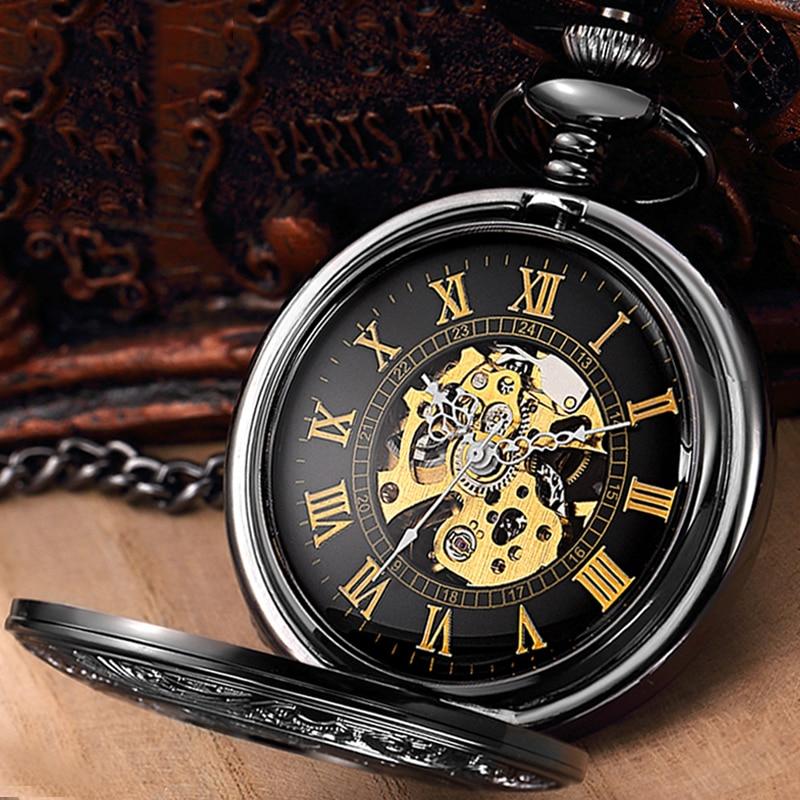 Skeleton Mechanical Pocket Watch Pendant Fob Chain Reloj For Men Women Antique Black Roman Numeral Man Steampunk Montre De Poche