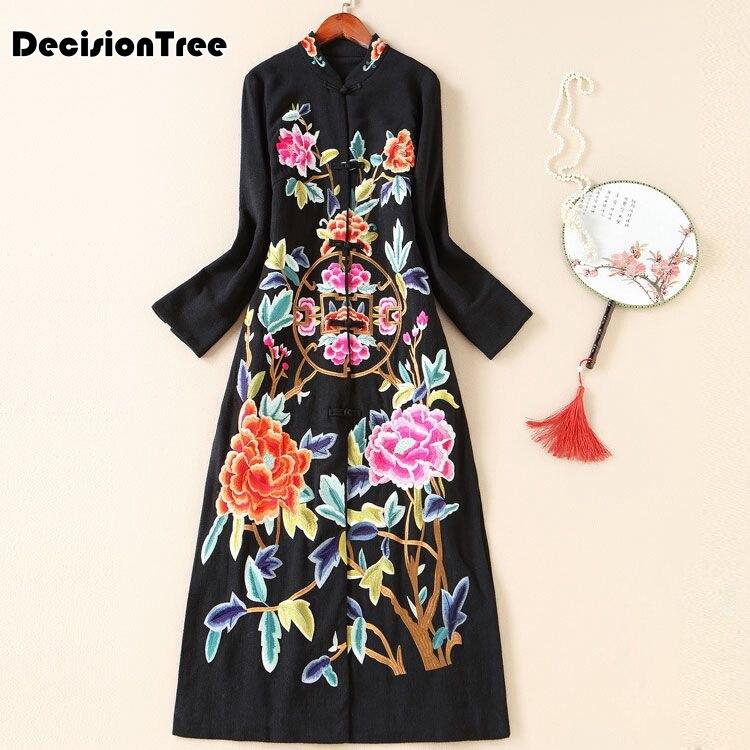 2020 Hanfu Women Chinese Style Long Dress Custom Fit Cotton Embroidered Folk Female Coat Traditional National Robe Costume