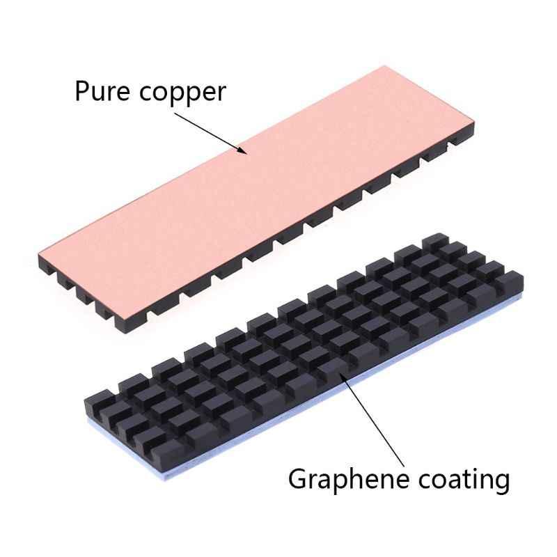 النحاس النقي الجرافين المبرد M.2 NGFF 2280 PCI-E NVME SSD لوحة حرارية برودة