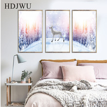 Nordic Decoration Artistic Deer Canvas Home Wall Painting Posters Pictures for Living Room AJ00252