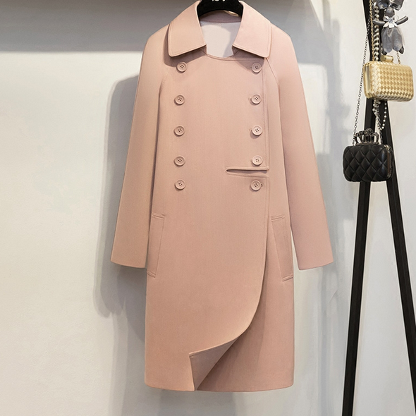 2017 Autumn New British Light Luxury Knee Long Length Loose Temperament Double Breasted Pink Coat Trench Female  Outwear
