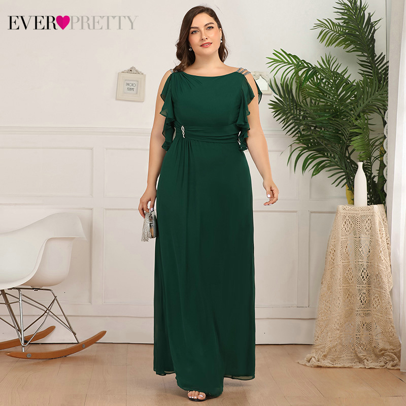 Plus Size Prom Dresses Ever Pretty A-Line Beaded O-Neck Ruffles Sleeveless Ruched Elegant Chiffon Party Gowns Vestidos De Gala