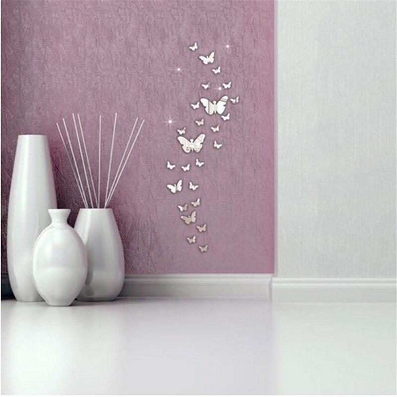 3D зеркала Бабочка Наклейка на стену s Наклейка на стену художественная Съемная комната вечерние декоративные наклейки на стену 12 шт