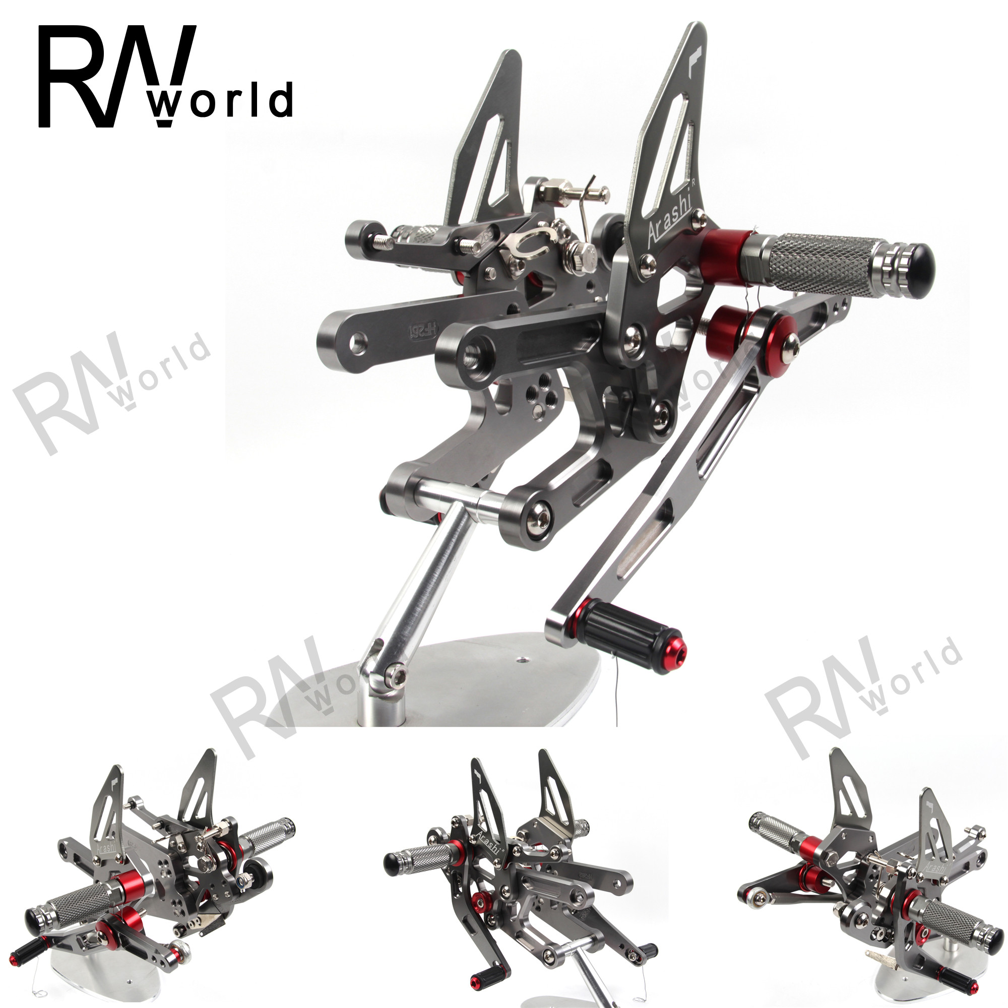 Rearsets Rear Sets Footpegs CNC Adjustable For Yamaha YZF R6 2017 2018