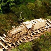 Robotime Train modèle 3D à assembler Puzzle en bois locomotive modèle kits de construction 4