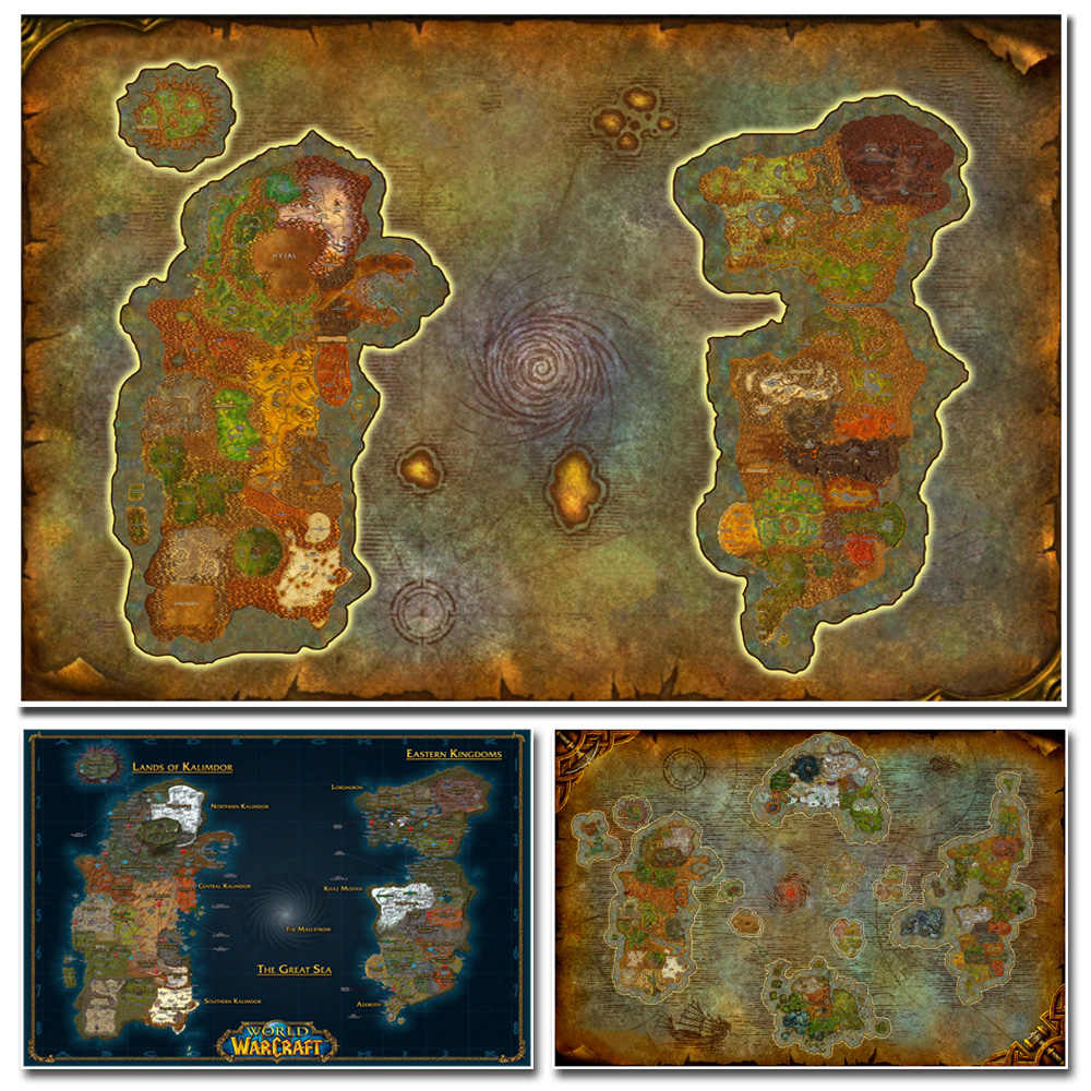 World Of Warcraft Map Poster Canvas Painting Wall Art Wall