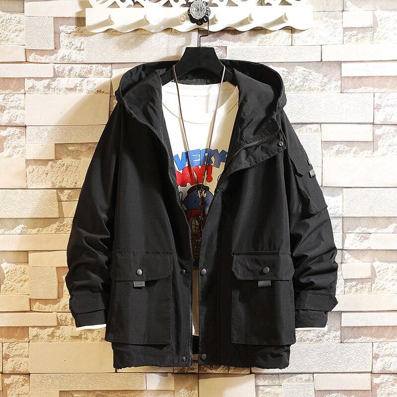 Hip Hop Mens Hooded Windbreaker Jacket Autumn 2020 Casual Vintage Loose Track Hoodie Jacket Coats Clothing Streetwear