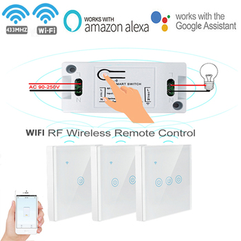 цена на Smart Wireless Switch Light  WIFI 433Mhz Relay Receiver RF Remote Control panel AC 110V 220V Receiver Wall Panel for Light LED