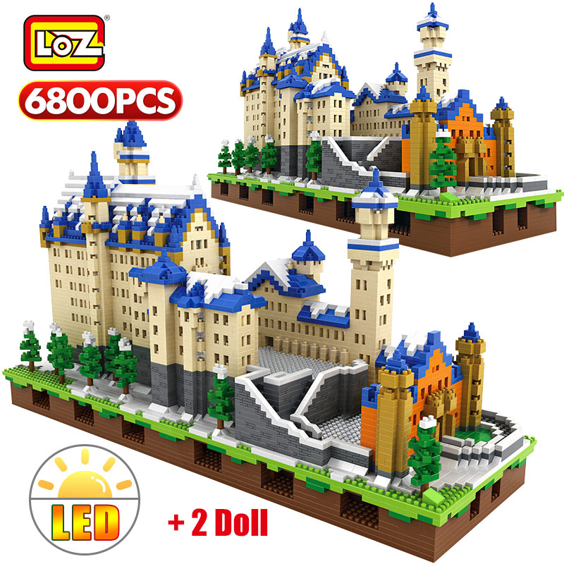 LOZ Mini Blocks New Swan Stone Castle 3D Model Building Blocks Technic Educational Toys For Kids Creator Gifts 6800pcs Bricks