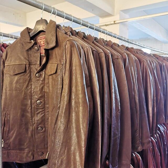 SALE CLEARANCE! RANDOM Color ! Men Leather Jacket 100% Natural Cowhide or Sheepskin Leather Jacket Man Skin Coat Autumn M163 3