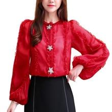 Chiffon Shirt Womens Blouses Shirts 2019 New Autumn Loose Fashion Long-sleeved Bright Diamond Button Women Tops Ruffle 687F6