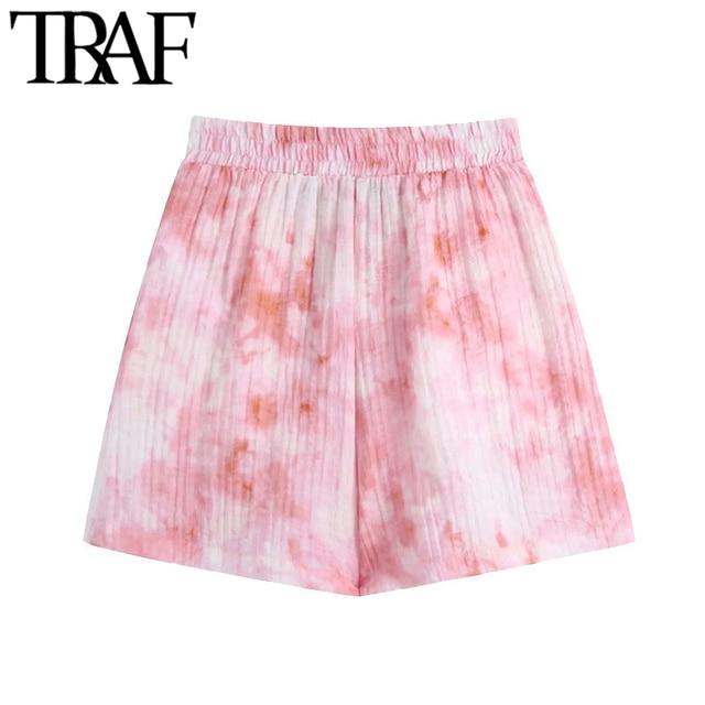 TRAF Women Chic Fashion Side Pockets Tie-dye Print Shorts Vintage High Elastic Waist Female Short Pants Mujer 2