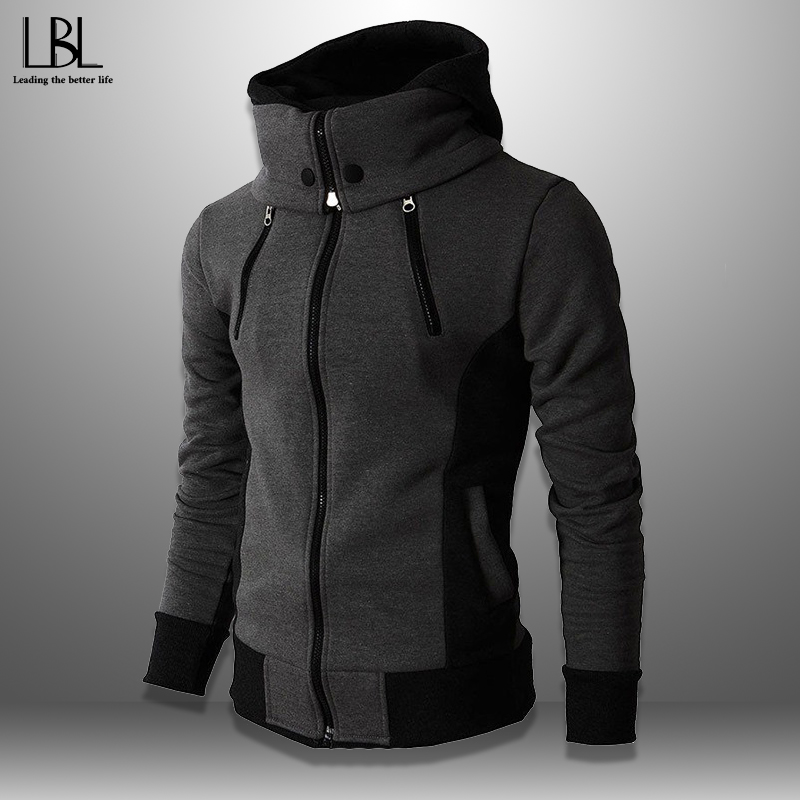 2020 Mens Hoodies Streetwear Fleece Turtleneck Sweatshirts Men Outwear Zipper Hooded Hoodie Male Hip Hop Casual Men's Clothing