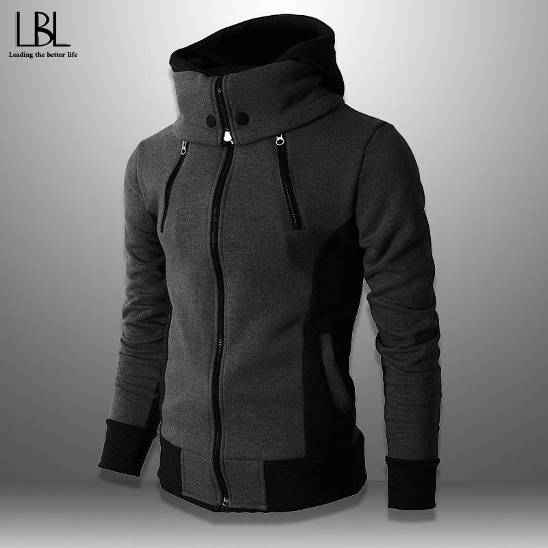2020 Mens Hoodies Streetwear Fleece Turtleneck Sweatshirts Men Outwear Zipper Hooded Hoodie Male Hip Hop Casual Men's Clothing