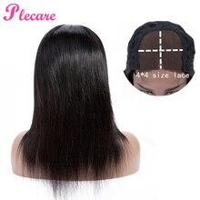 Plecare 4*4 человеческие волосы парики на шнуровке человеческие волосы парики для черных женщин прямые бразильские не Реми натуральный цвет