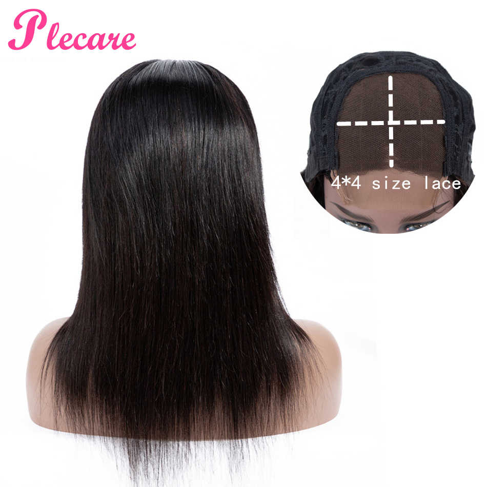 Plecare 4*4 Human Hair Wigs Lace Closure Human Hair Wigs For Black Women Straight Brazilian Non-remy Natural Color