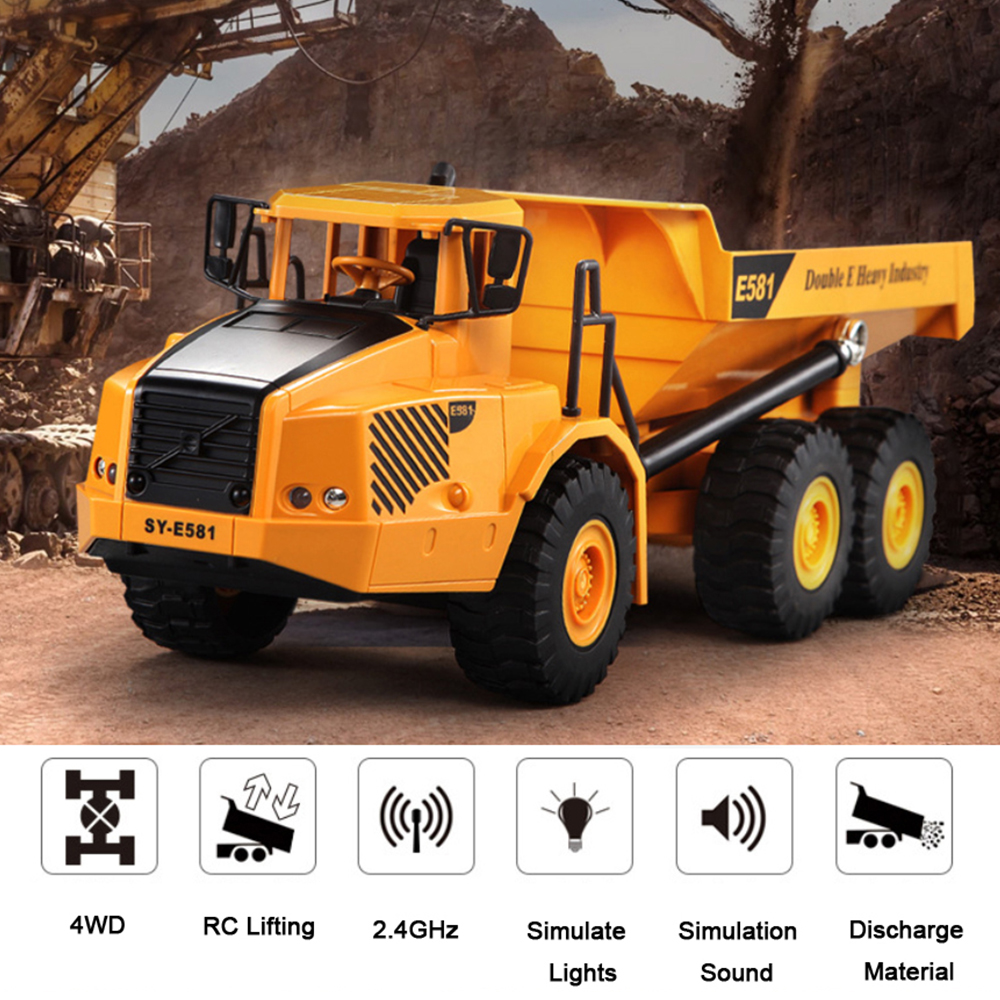 4WD RC Car 2.4G 6ch Dump Truck Engineering Construction Loading Dump Remote Control Truck RC Trailer Model Toys For Kid Gift