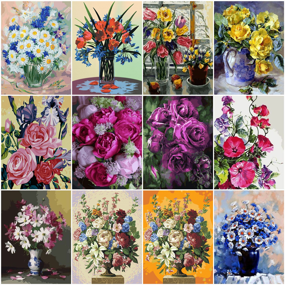 HUACAN Pictures By Number Flower Kits Home Decor Painting By Numbers Flower Drawing On Canvas HandPainted Art DIY Gift