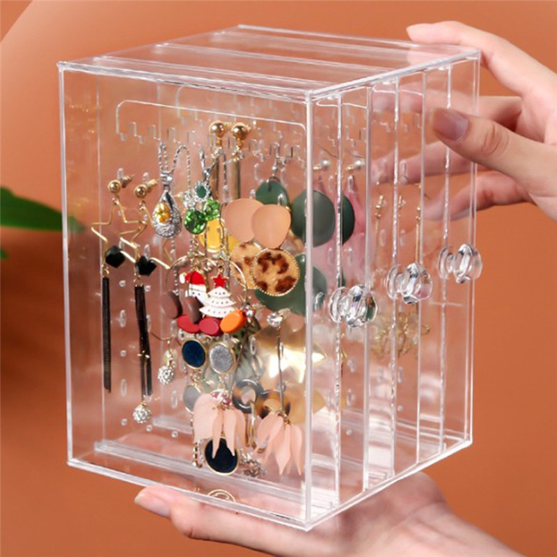 Pinksee Simple Creative Dustproof Transparent Acrylic Earrings Jewelry Storage Box Women Jewelry Display Stand Rack