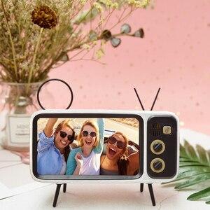 Image 5 - חדש רטרו טלוויזיה נייד טלפון מחזיק Stand עבור 4.7 כדי 5.5 אינץ Smartphone Bracket עם אלחוטי Bluetooth רמקול נגן מוסיקה אודיו