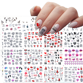 12 Designs Russian Text Nail Water Decals Sexy Lips Finger Sexy Girl Transfer Slider Russia Words Manicure Tattoos Set