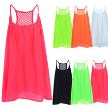 Women Beach Dress Fluorescence Female Summer Chiffon Voile Style Clothing Plus Size D30