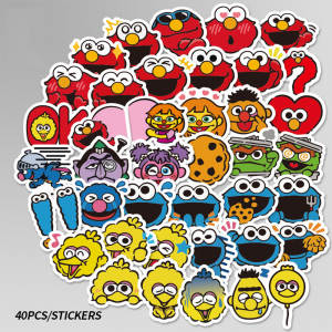 50PcsSet Trend Sesame Street Sticker for AirPods Earphone Phone Apple Airpods Computerstickers PVC waterproof