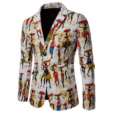 цена Mens Fashion Cotton Linen Blazers Men Suits African Print Casual Slim Fit Jacket Men Suit Terno Masculino Blazers Hombre онлайн в 2017 году