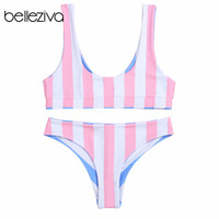 Belleziva Double-Sided Wearable Bikini Set Stripe Female Beach Suit Push Up Swimwear Biquinis Maillot De Bain Femme Bikini 2020