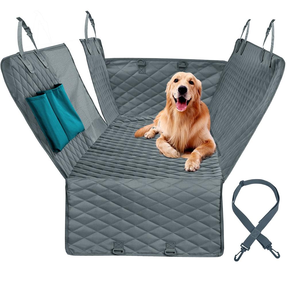 Protector para asiento de coche para perros ver malla impermeable Pet Carrier trasera de coche alfombrilla para asiento trasero hamaca colchón Protector con cremallera y bolsillos