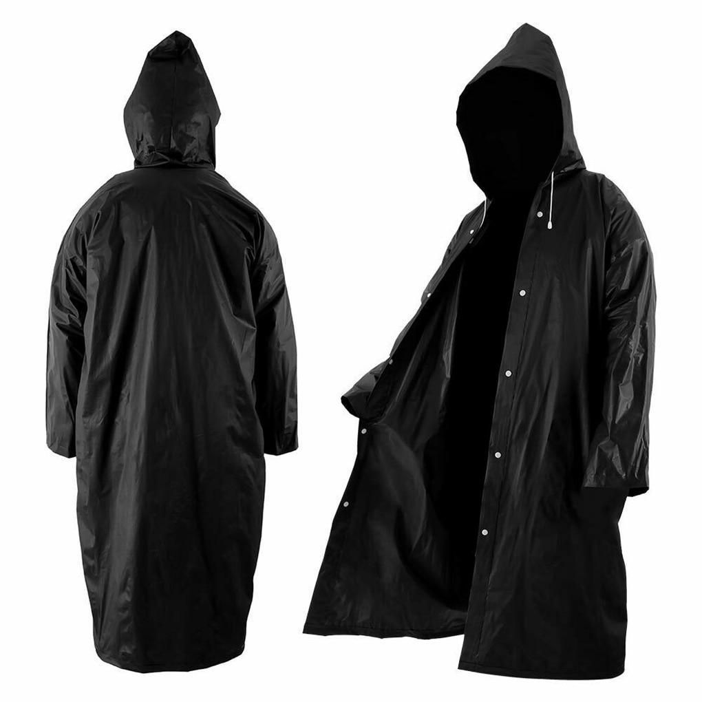 High Quality 1PC 145*68CM EVA Unisex Raincoat Thickened Waterproof Rain Coat Women Men Black Camping Waterproof Rainwear Suit
