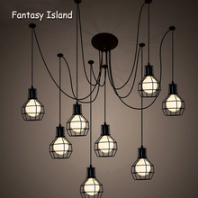 Modern big Spider Industrial black vintage pendant Lamp Loft led 14 heads E27 hanging lights for living room restaurants kitchen стоимость